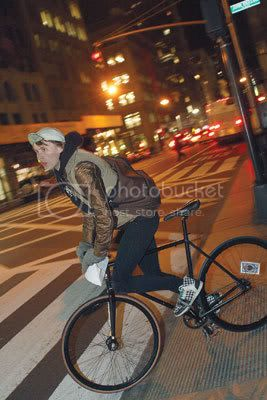 A bike messenger takes off from the checkpoint at 41st Street and Fifth Avenue. Photo By: Andrew Schwartz