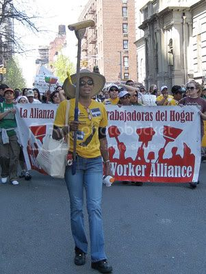 Workers march on the Upper East Side on April 25.