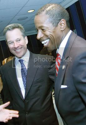 State Sen. Eric Schneiderman (left) reveling in the Democrats victory with presumptive Senate majority leader Malcolm Smith, of Queens. Photo By: Andrew Schwartz