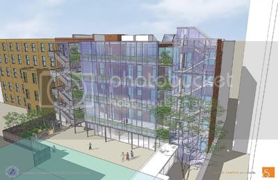 A rendering of the proposed glass expansion at Columbia Grammar and Prep, on West 93rd Street.
